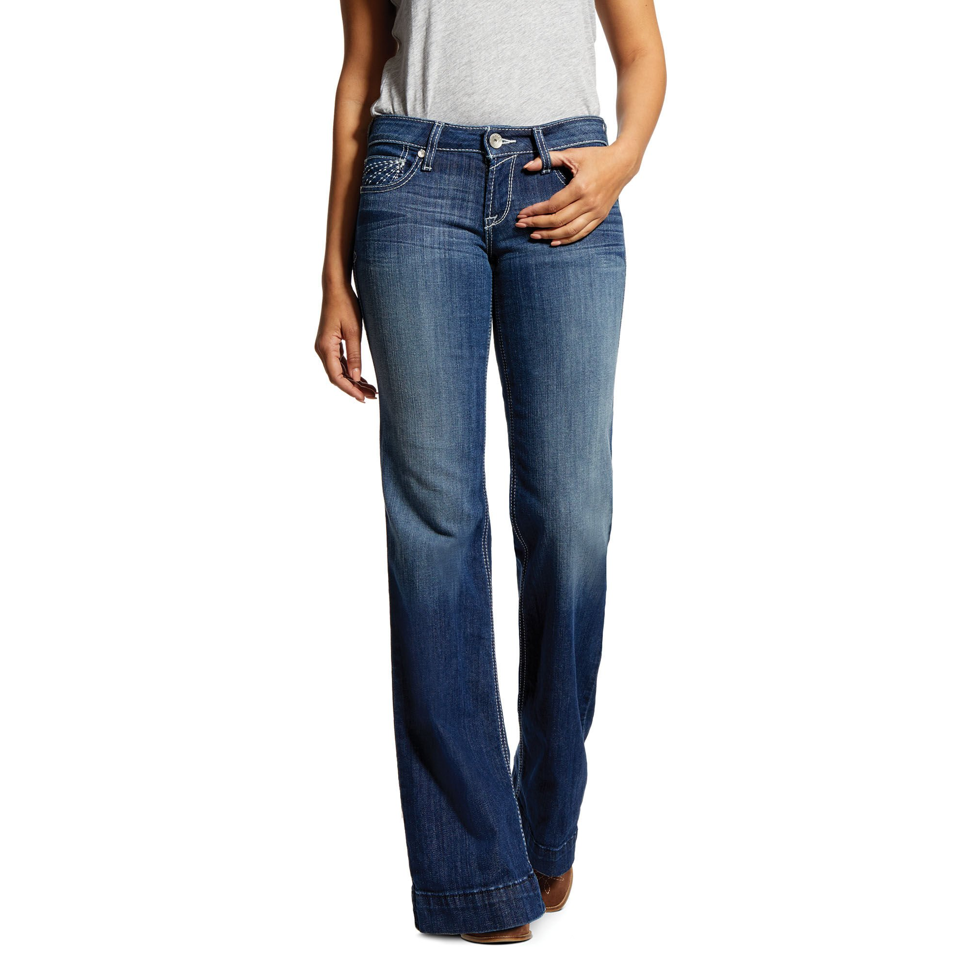 Trouser Mid Rise Stretch Sunset Wide Leg Jean