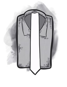 2.5 inch tie with a white shirt