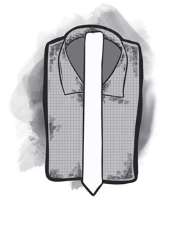 2 inch tie with a white shirt