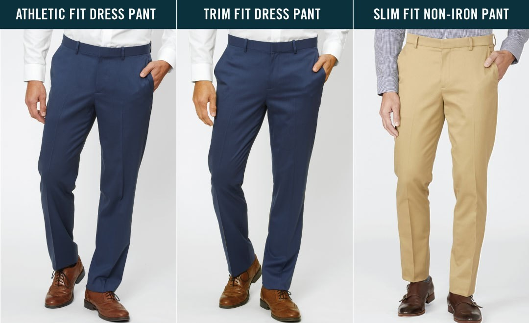 comparison of athletic fit dress pant, trim fit dress pant, and slim fit non-iron pant, front view