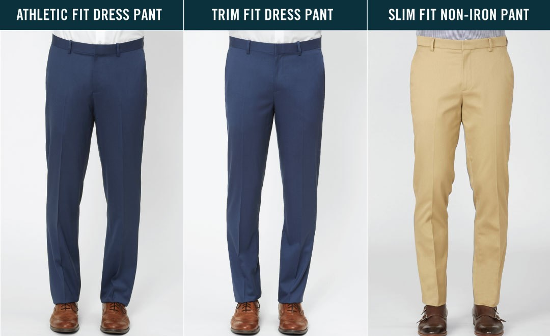 comparison of athletic fit dress pant, trim fit dress pant, and slim fit non-iron pant, second front view