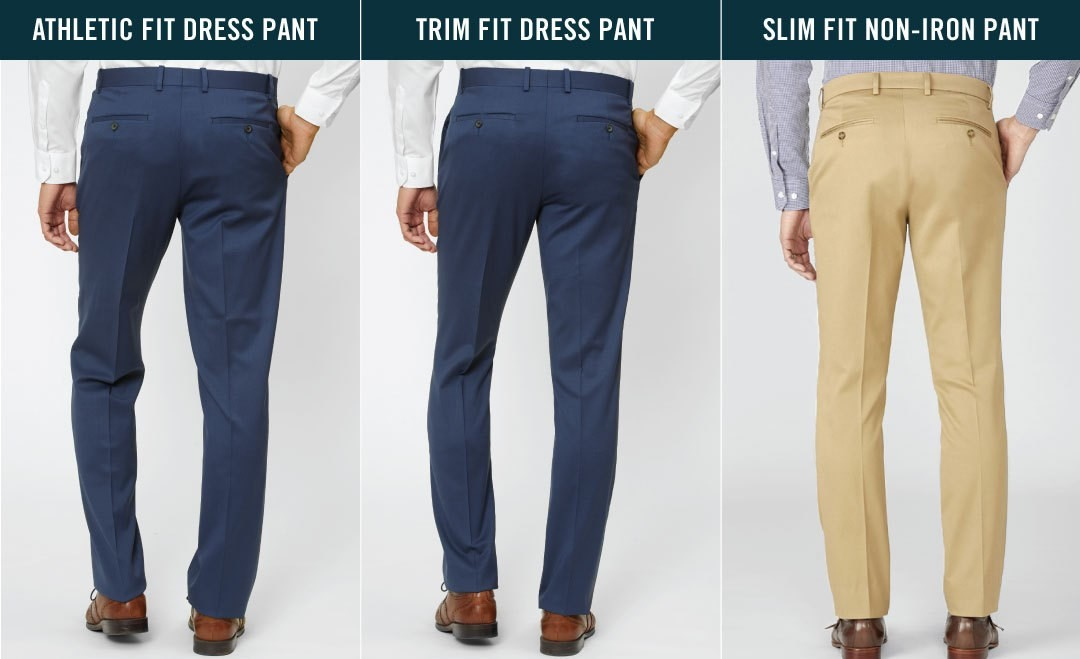 comparison of athletic fit dress pant, trim fit dress pant, and slim fit non-iron pant, back view