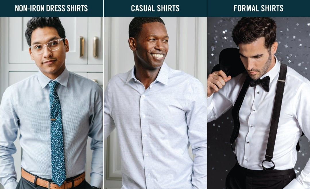 Comparison of non-iron dress shirts, casual shirts, and formal shirts
