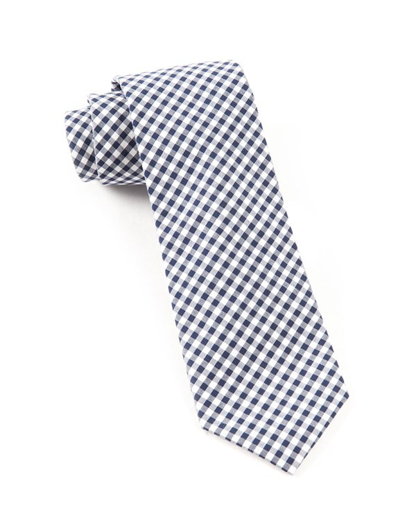 Novel Gingham Navy Tie