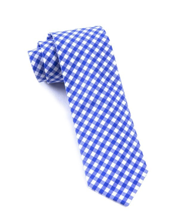 New Gingham Royal Blue Tie