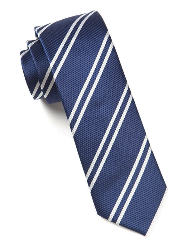 Double Stripe Navy Tie