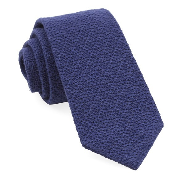 Textured Pointed Knit Navy Tie
