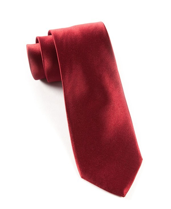 Solid Satin Burgundy Tie