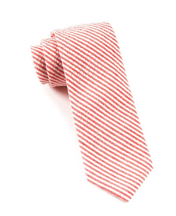 Seersucker Red Tie
