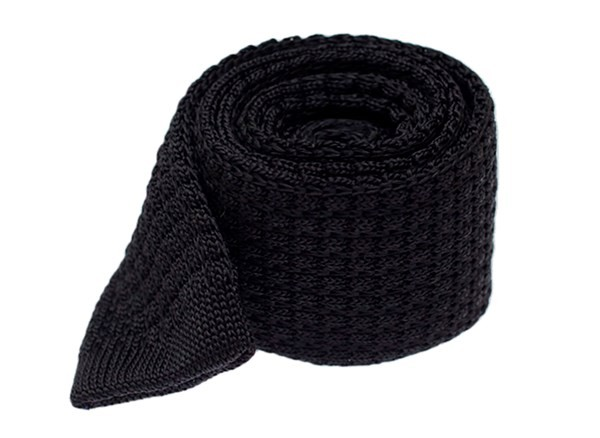 Textured Solid Knit Black Tie