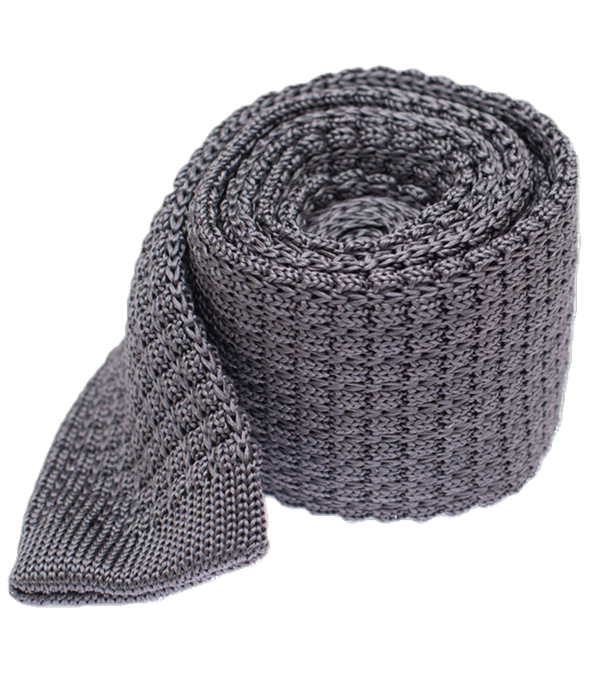Textured Solid Knit Grey Tie