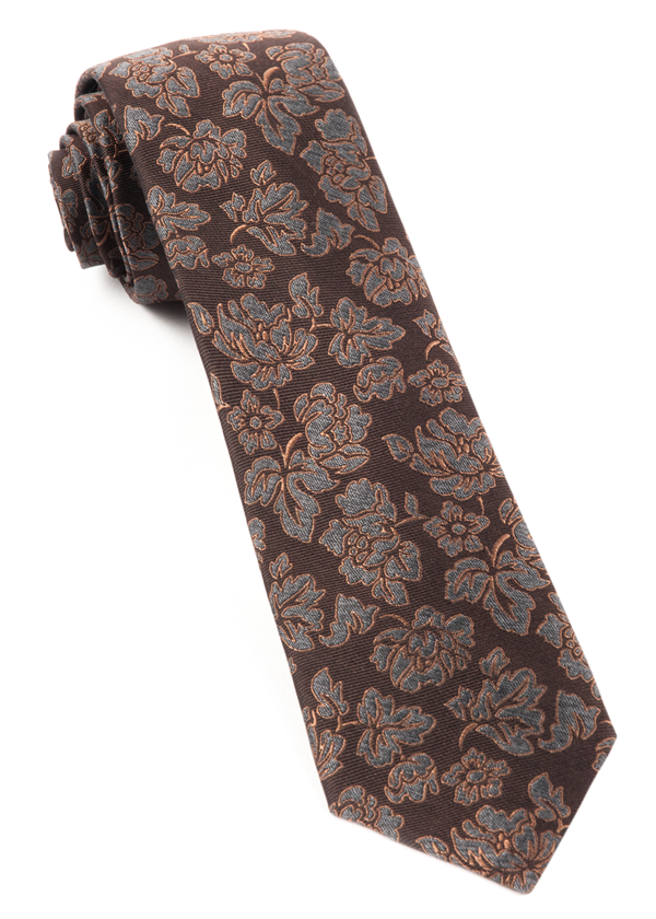 Intellect Floral Dark Brown Tie