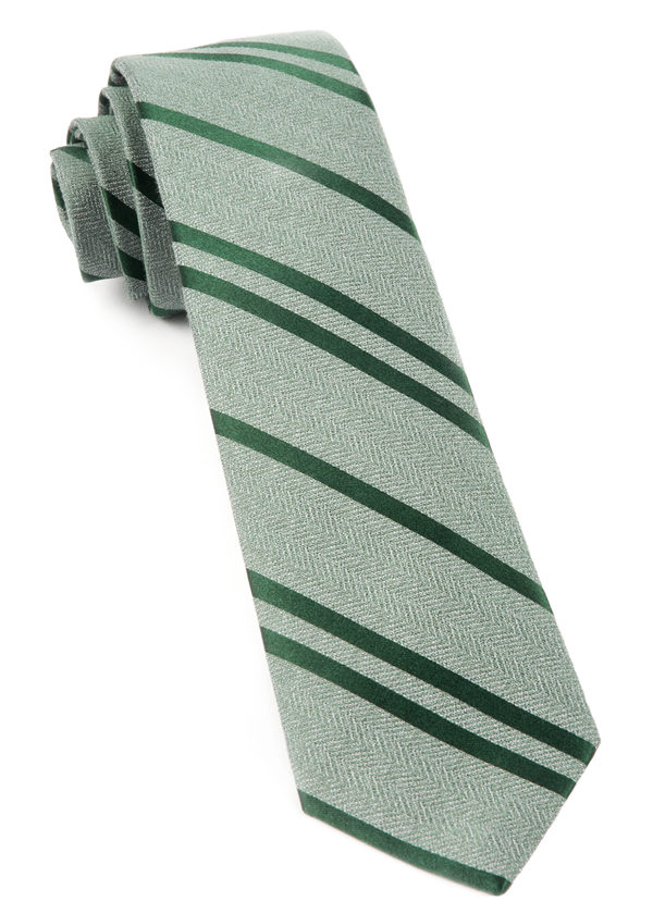 Wool Path Stripe Moss Green Tie