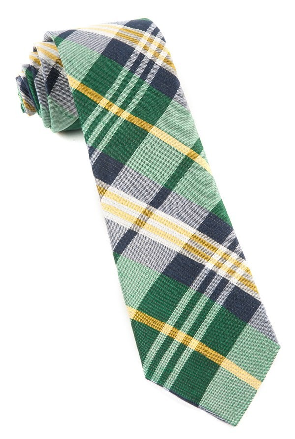Crystal Wave Plaid Hunter Green Tie