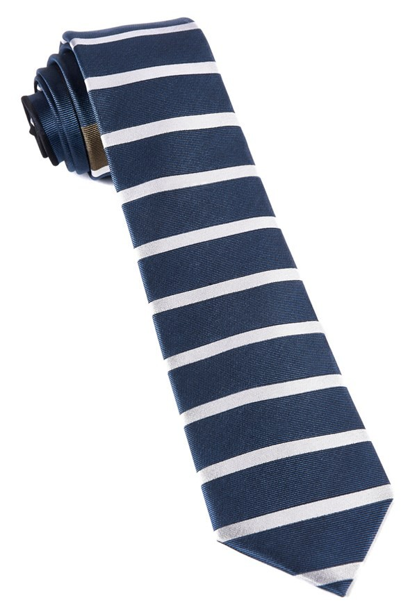 Extended Stripes Whale Blue Tie