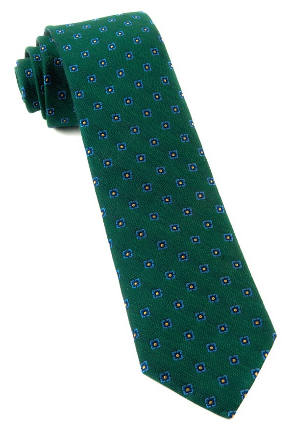 Medallion Scene Hunter Green Tie