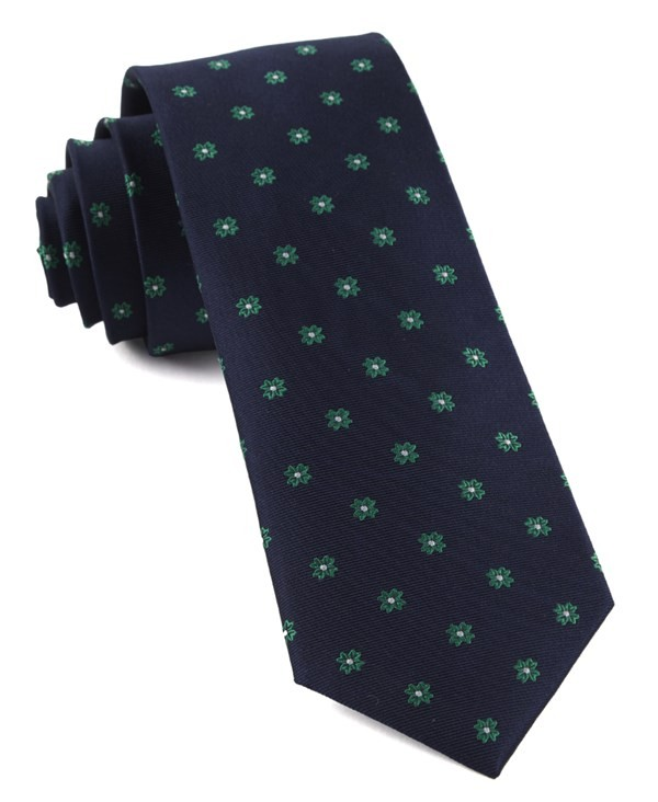 Primrose Flowers Kelly Green Tie