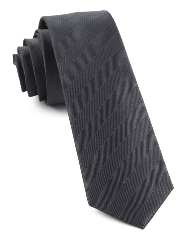 Herringbone Vow Charcoal Tie