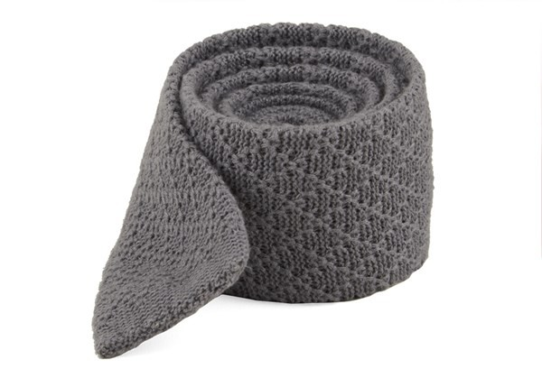 Field Solid Knit Grey Tie