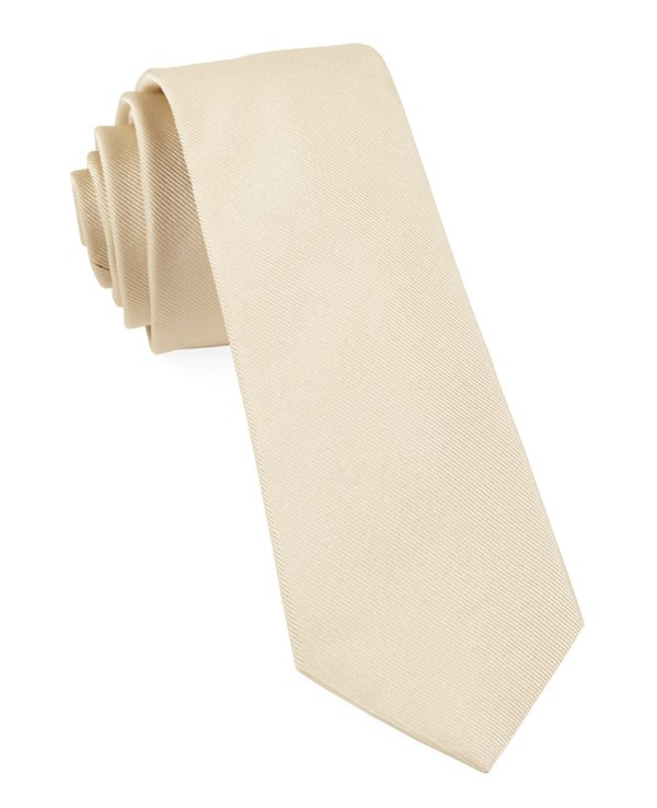 Grosgrain Solid Light Champagne Tie