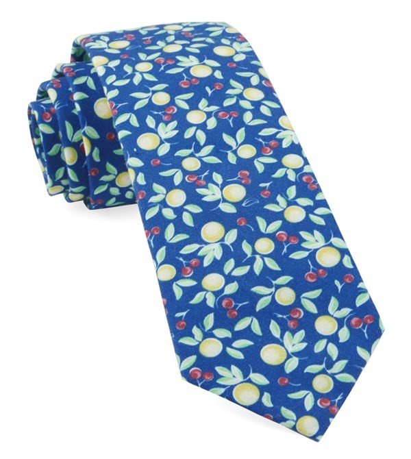 Fruit Trees Royal Blue Tie