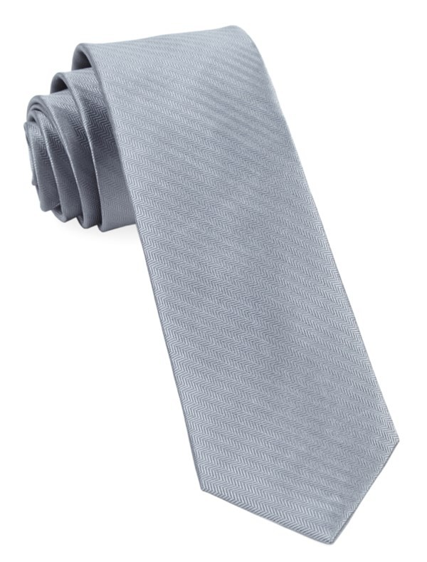 Sound Wave Herringbone Silver Tie