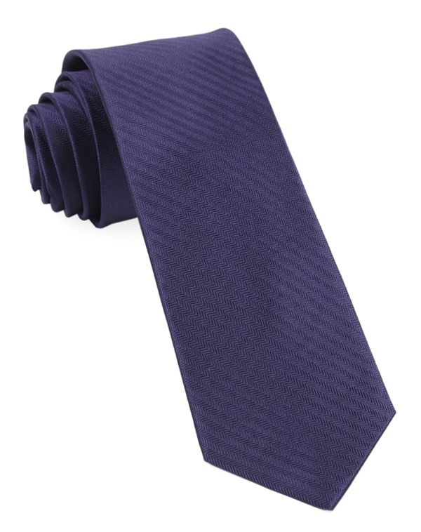 Sound Wave Herringbone Eggplant Tie