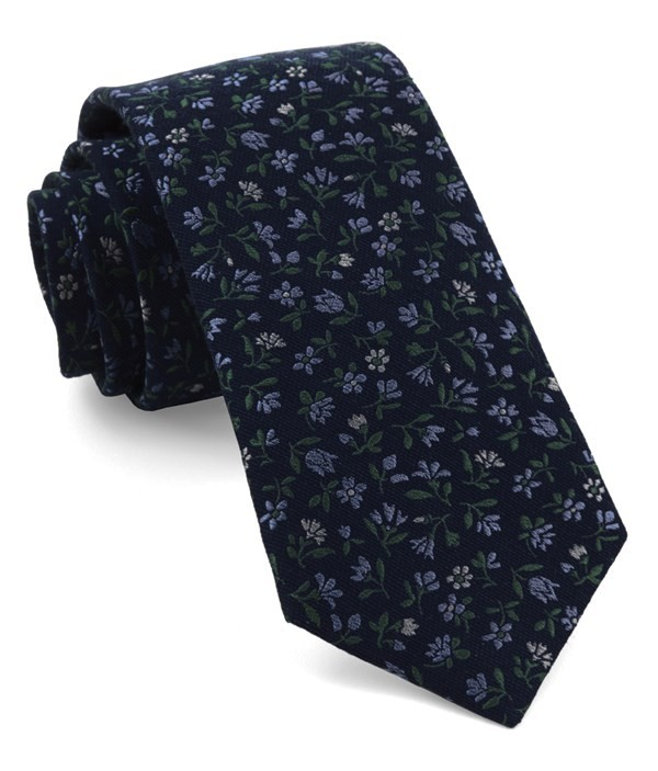 Floral Acres Navy Tie