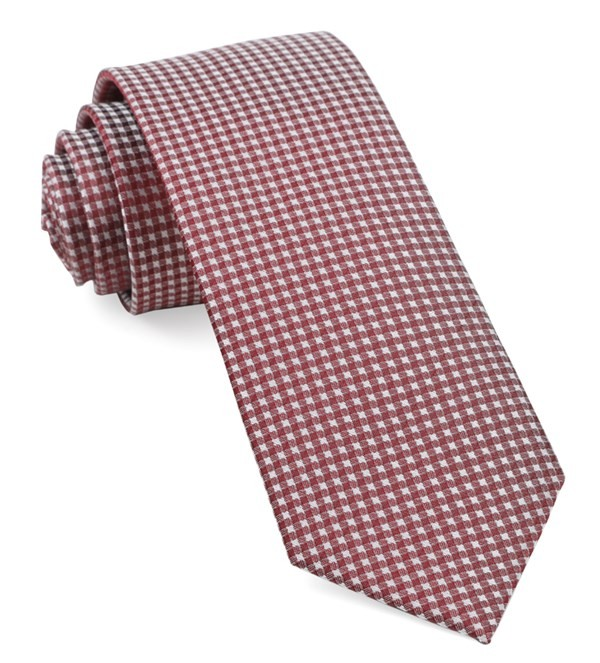 Be Married Checks Burgundy Tie