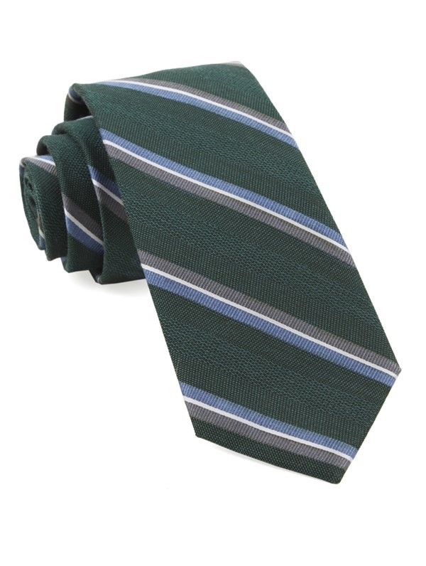 Short Cut Stripe Hunter Green Tie