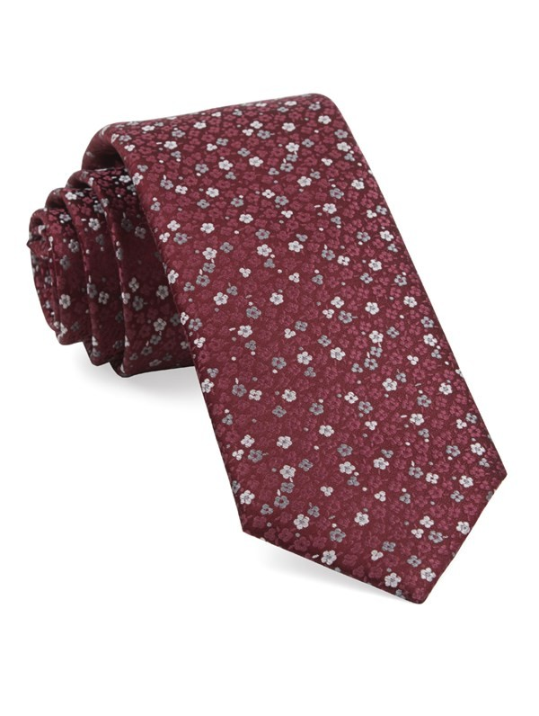 Flower Fields Burgundy Tie