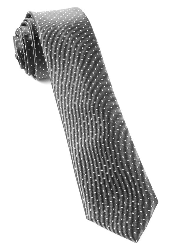 Mini Dots Charcoal Grey Tie