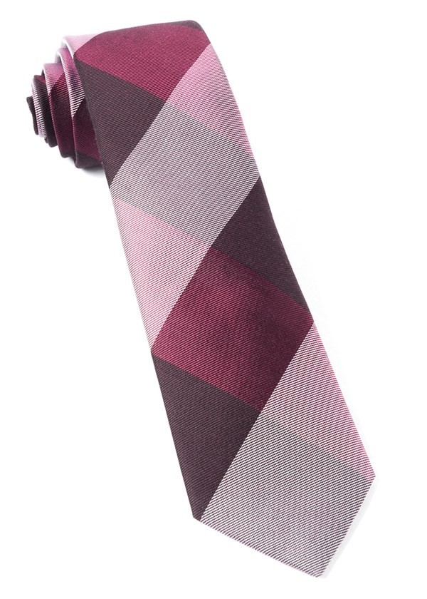 West Bison Plaid Burgundy Tie