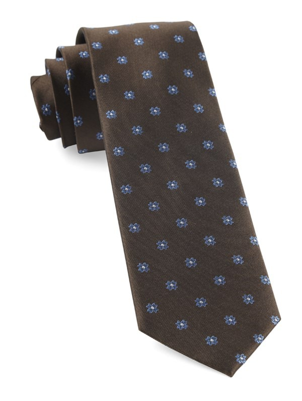 Floral Span Chocolate Brown Tie