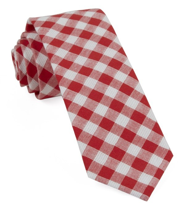 Trellis Plaid Red Tie