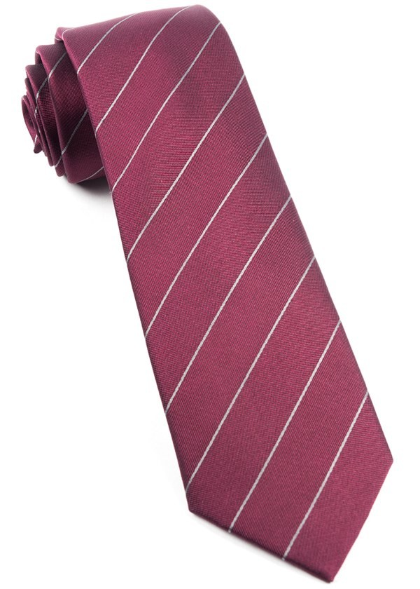 Pencil Pinstripe Burgundy Tie