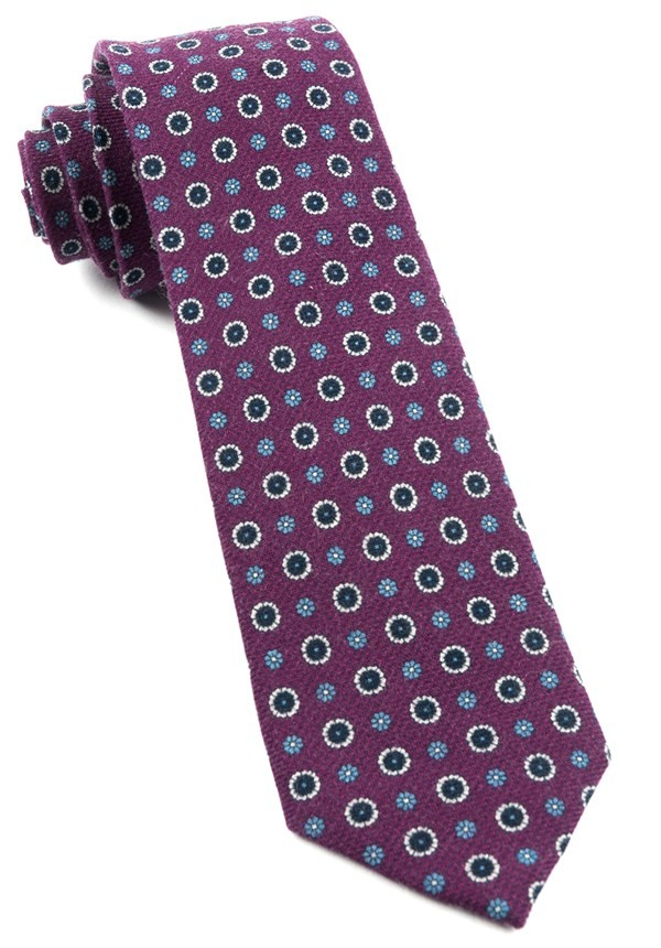 Printed Floral Replay Deep Azalea Tie