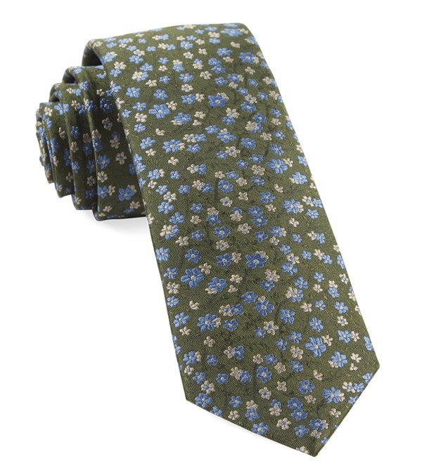 Free Fall Floral Army Green Tie