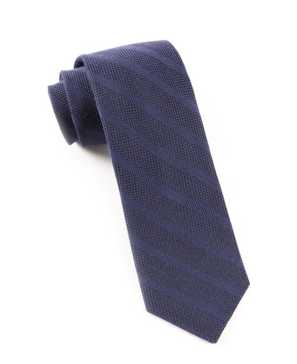 Textured Wool Stripe Navy Tie