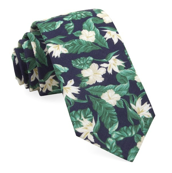 Tropical Floral Navy Tie