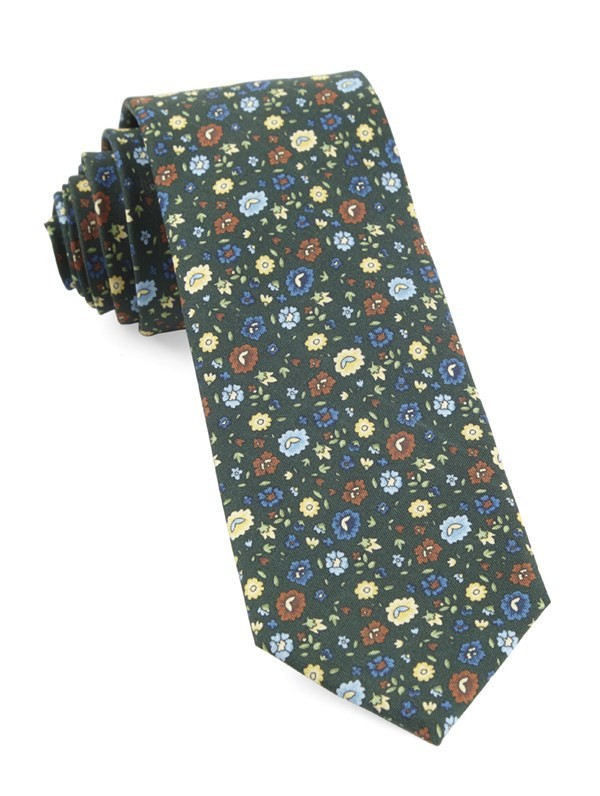Morrissey Flowers Hunter Green Tie