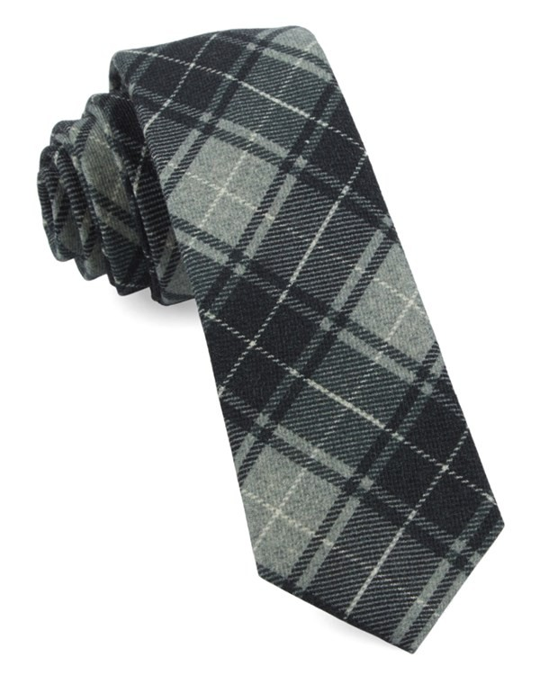 Merchants Row Plaid Grey Tie