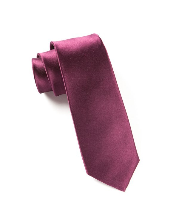 Solid Satin Wine Tie