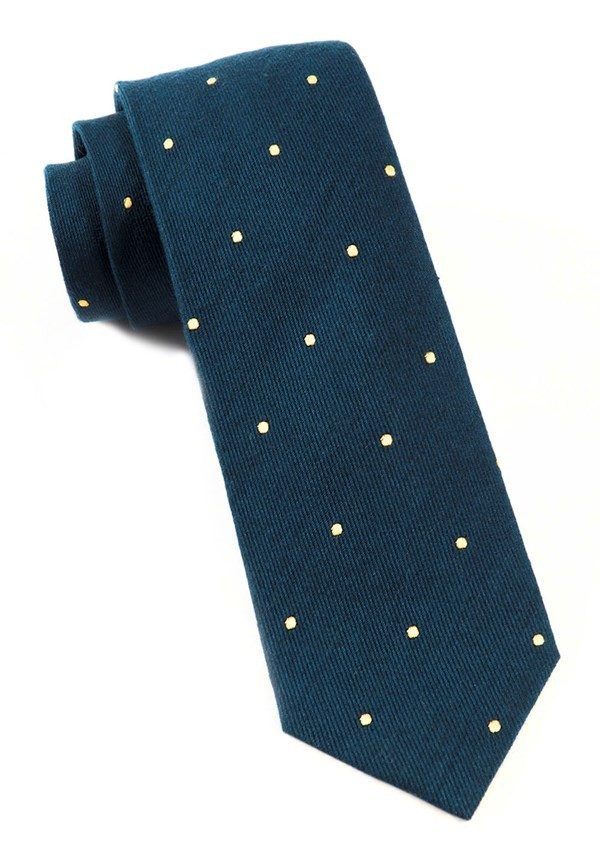 Wool Dots Midnight Navy Tie