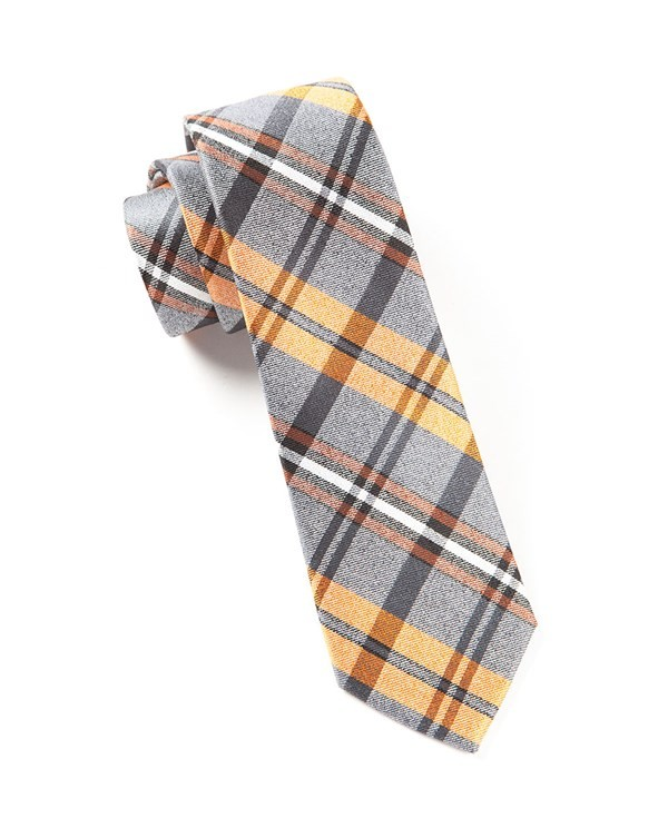 Winter Plaid Oranges Tie