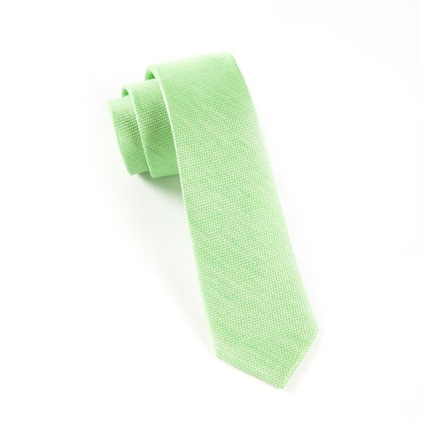 Solid Linen Apple Green Tie