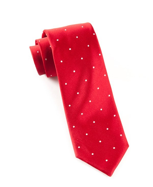 Satin Dot Red Tie