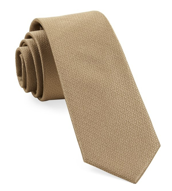 Static Solid Tan Tie