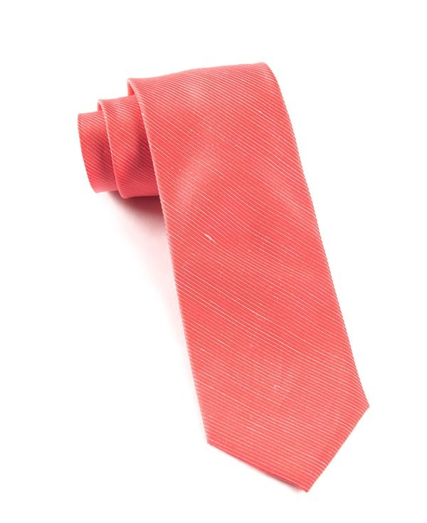 Fountain Solid Coral Tie