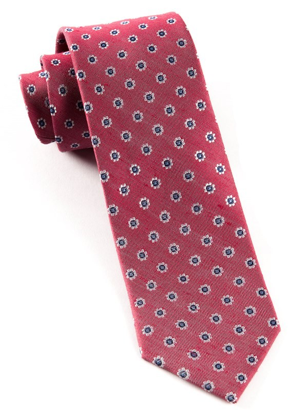 Half Moon Floral Red Tie